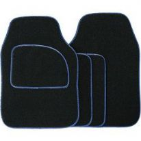 Streetwize Velour Carpet Mat Sets with Coloured Binding - 4 Piece - Black With Blue Piping